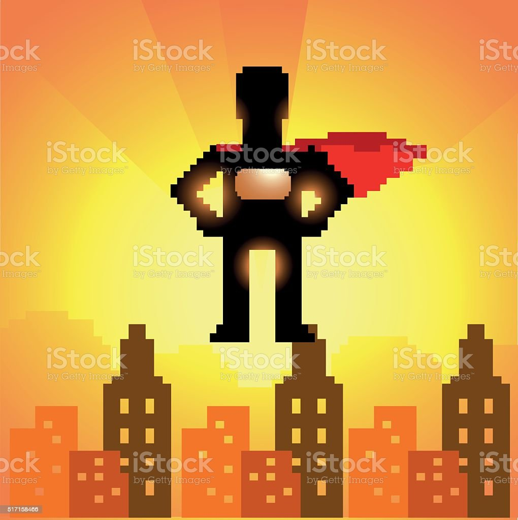 Pixelated 8-bit superhero silhouette vector art illustration