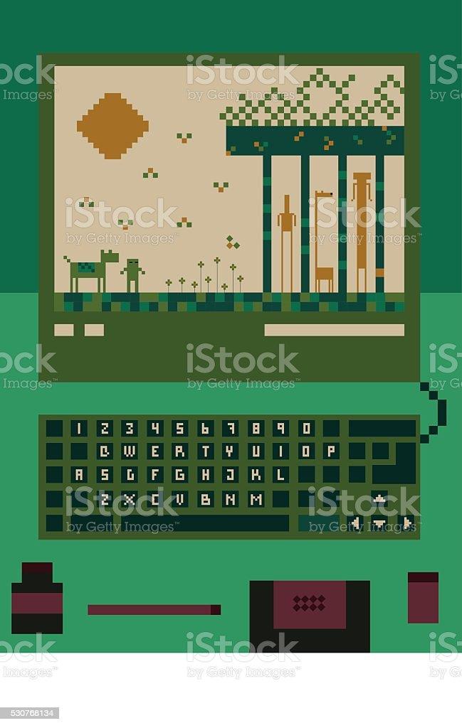 Pixelated Computer Game vector art illustration