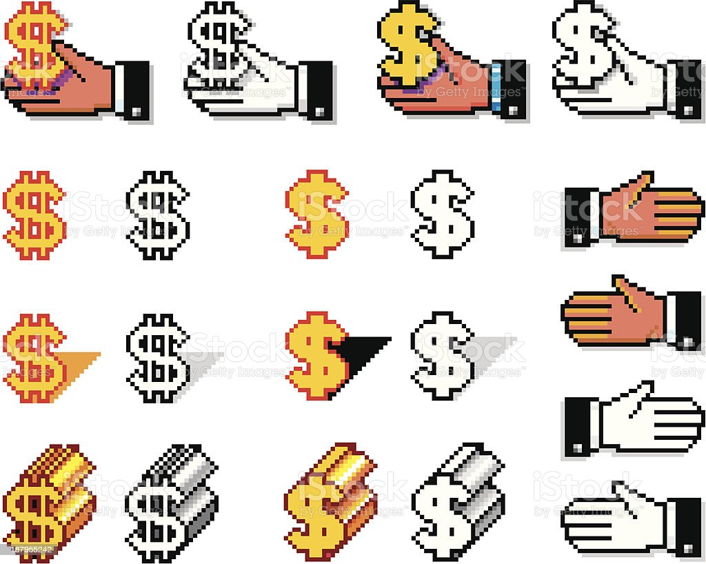 Pixelated Hands and Currency Simbols royalty-free stock vector art