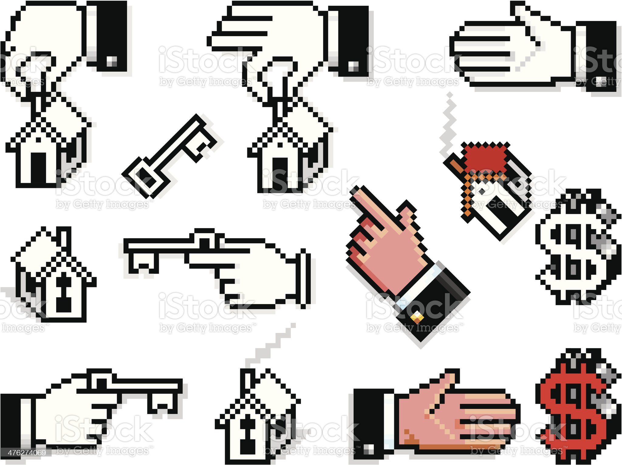 Pixelated Hands with Houses and Keys royalty-free stock vector art