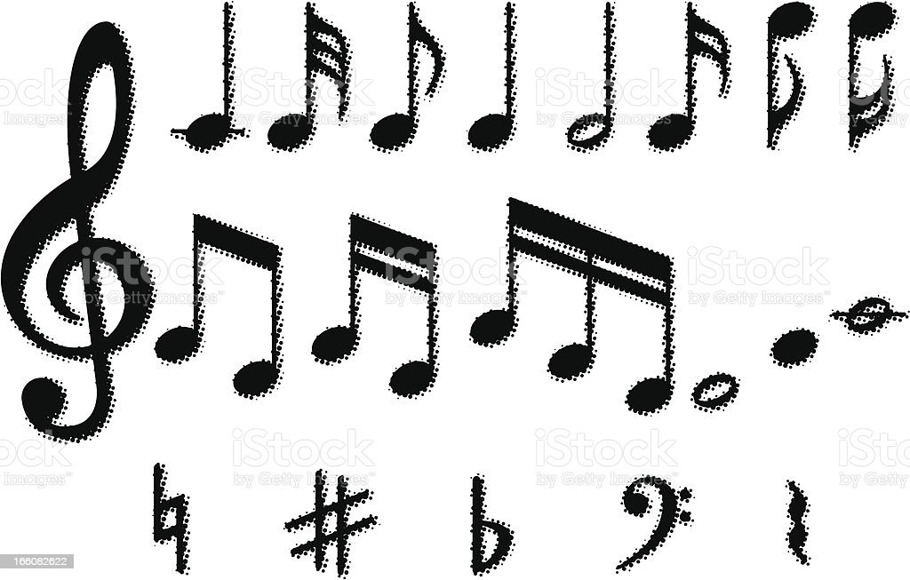 Pixelated images of the various musical notes royalty-free stock vector art