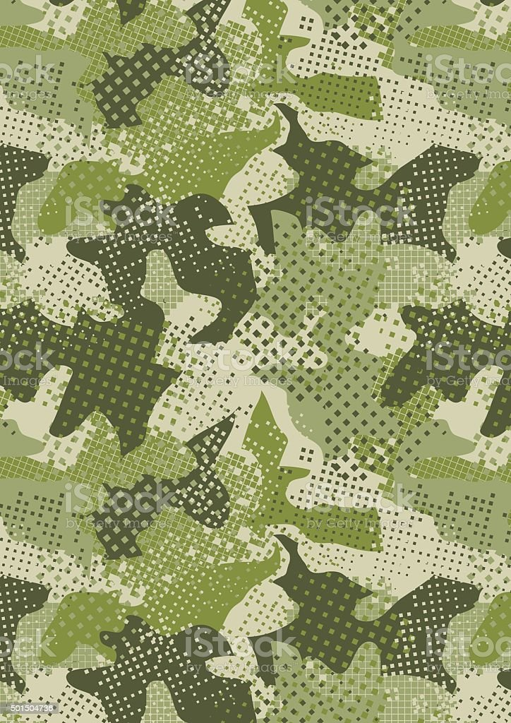 pixelated jungle green camouflage repeat pattern vector art illustration