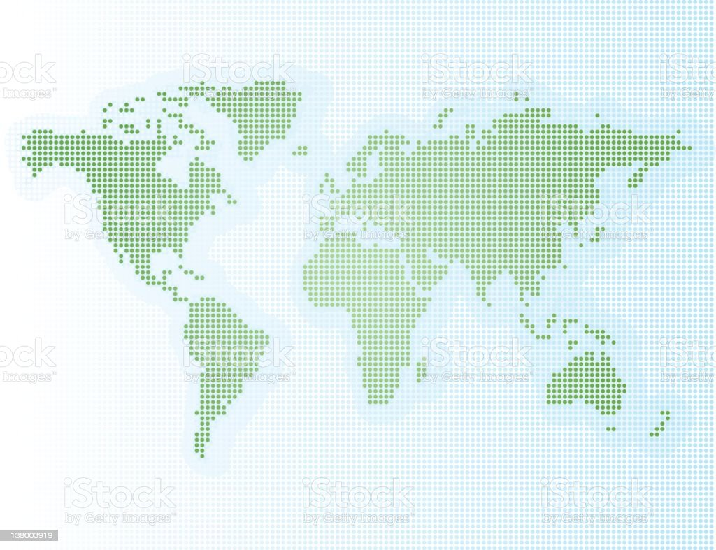 A pixelated map illustration of the world stock photo