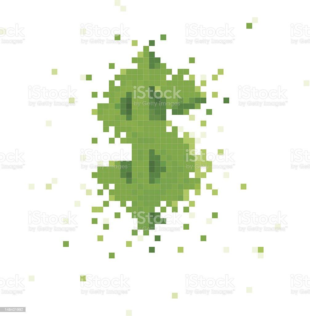 pixels creating a dollar symbol vector art illustration