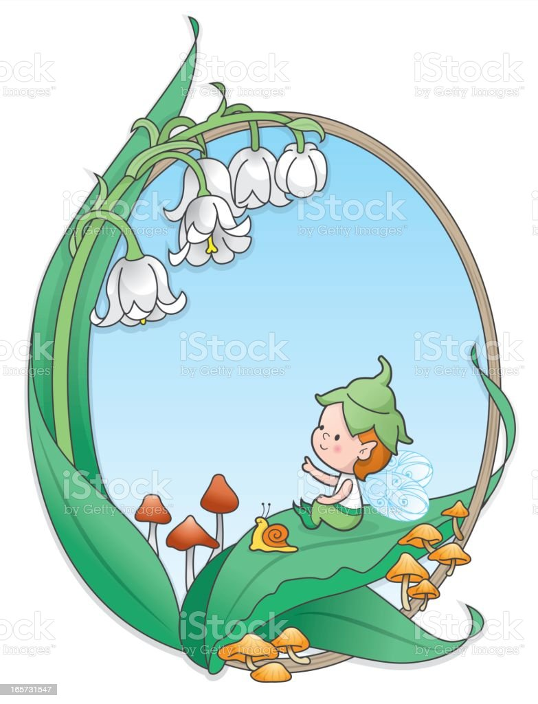 Pixie elf boy Lily of the valley frame royalty-free stock vector art