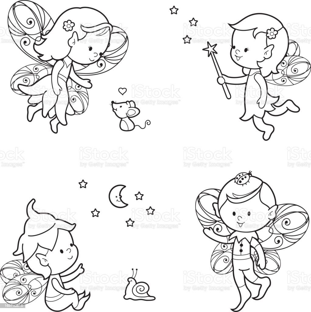Pixie elf coloring set royalty-free stock vector art