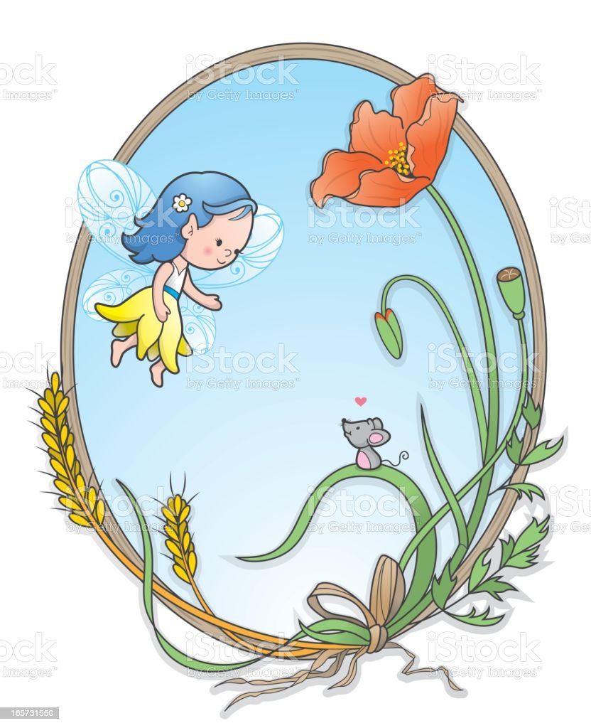 Pixie elf girl poppy mouse frame royalty-free stock vector art