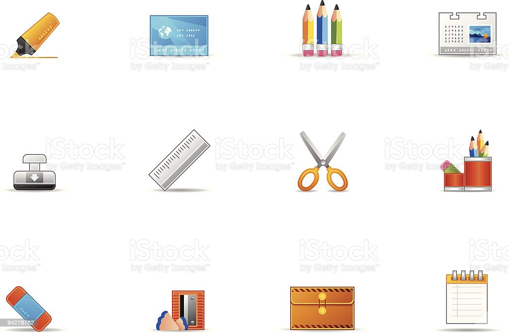 Pixio set #17 - stationery icons royalty-free stock vector art