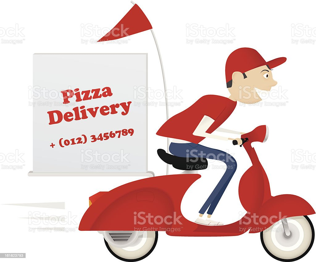 Pizza advertisement for delivery service vector art illustration