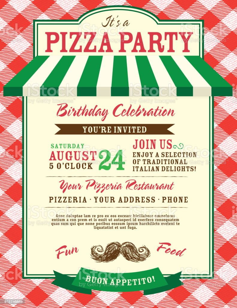 Pizza and birthday party invitation design template large red check vector art illustration