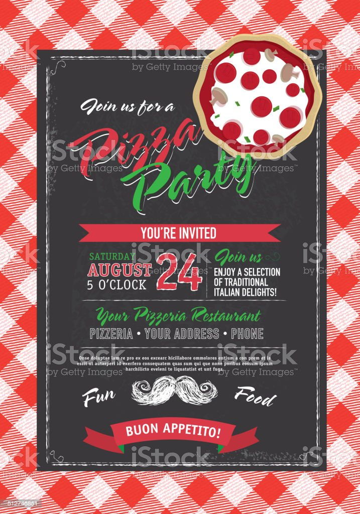 Pizza and birthday party invitation design template red check chalkboard vector art illustration
