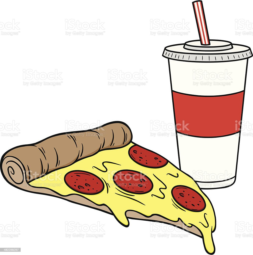 Pizza and Drink vector art illustration