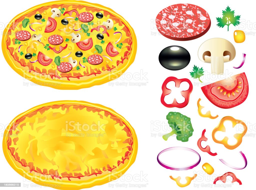 Pizza and ingredients vector illustration royalty-free stock vector art