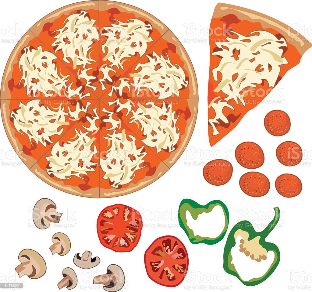 Pizza and Toppings royalty-free stock vector art