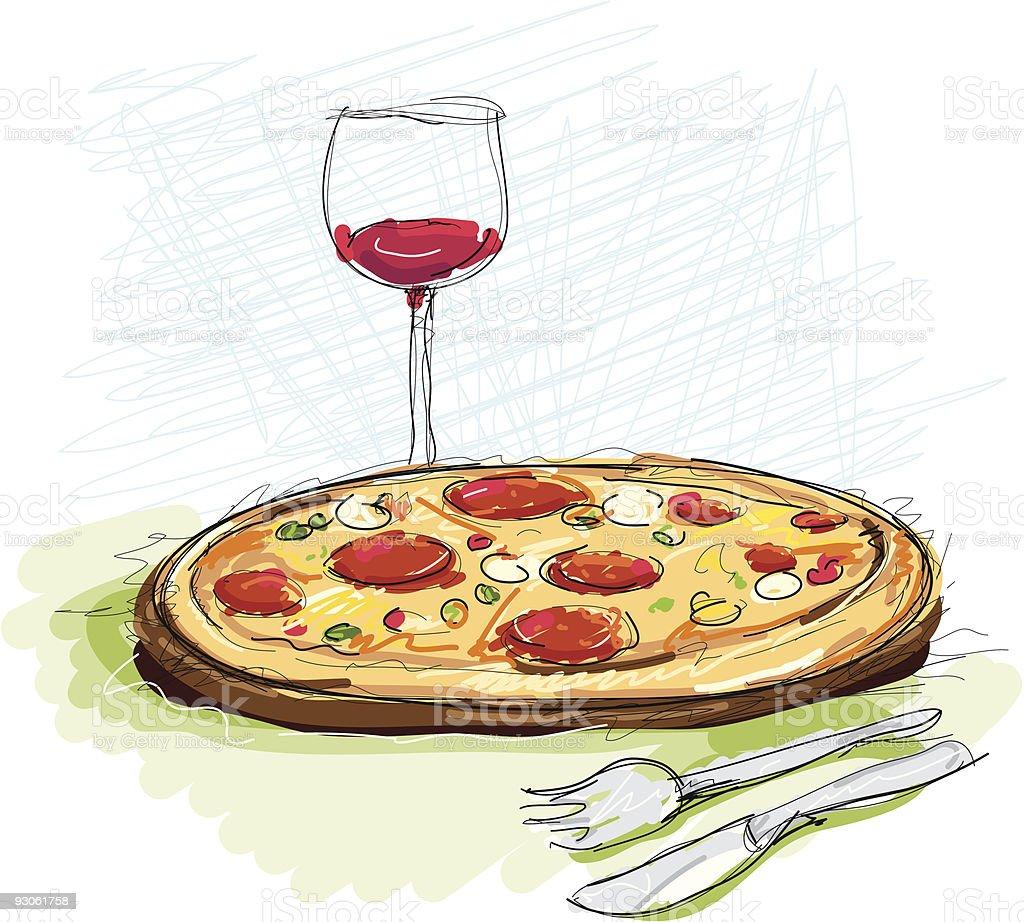 Pizza und Wein royalty-free stock vector art