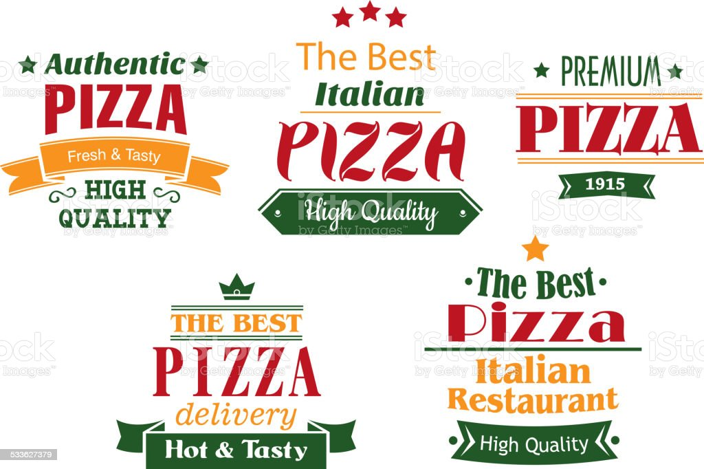 Pizza banners, labels and signs vector art illustration