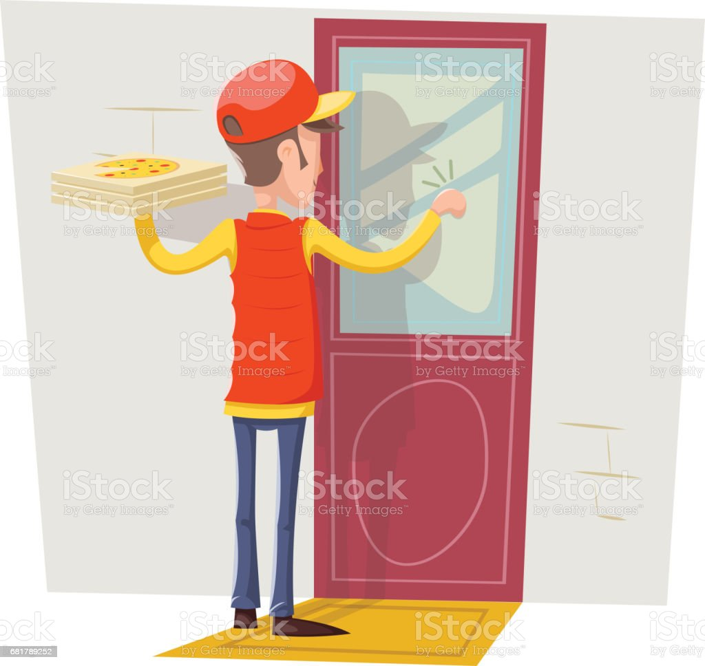 ... Pizza Box Delivery Boy Man Concept Knocking at Customer Door Wall Background Retro Cartoon Design Vector ... & Delivery Man At Door Clip Art Vector Images \u0026 Illustrations - iStock Pezcame.Com