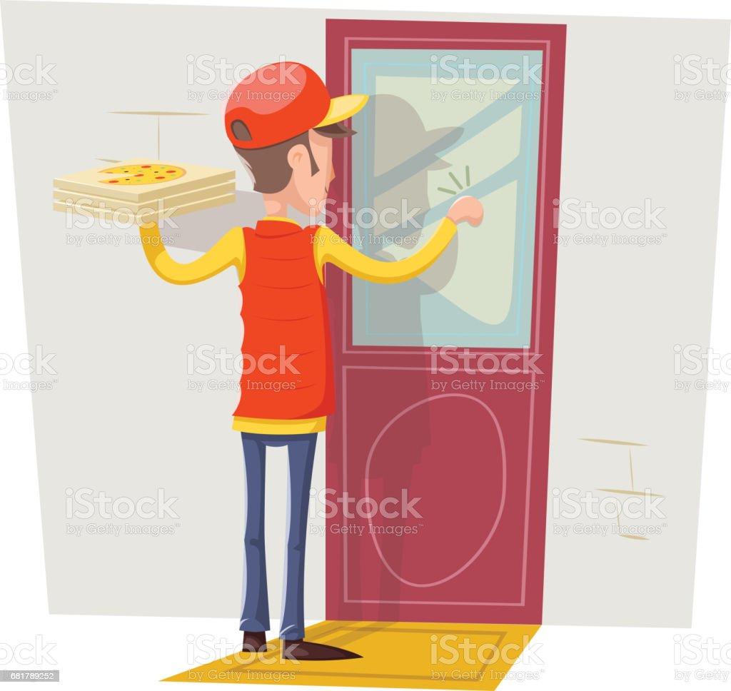Pizza Box Delivery Boy Man Concept Knocking at Customer Door Wall Background Retro Cartoon Design Vector & Delivery Man At Door Clip Art Vector Images \u0026 Illustrations - iStock Pezcame.Com