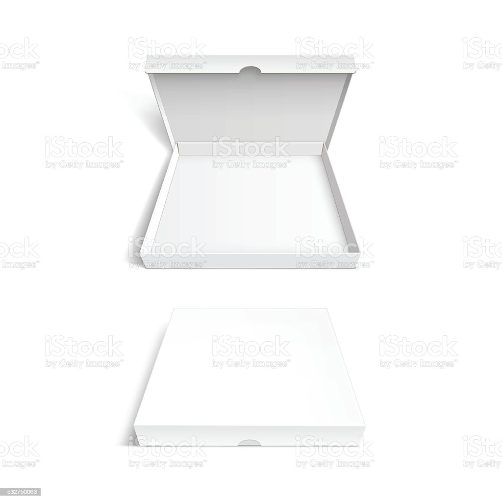 Pizza Box Packaging Template Isolated on White Background vector art illustration