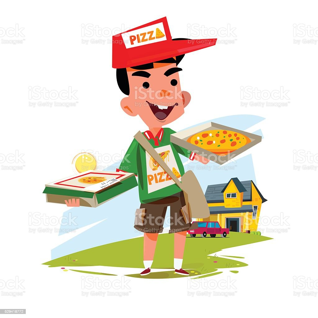 pizza boy holding pizza box. delivery concept character design vector art illustration