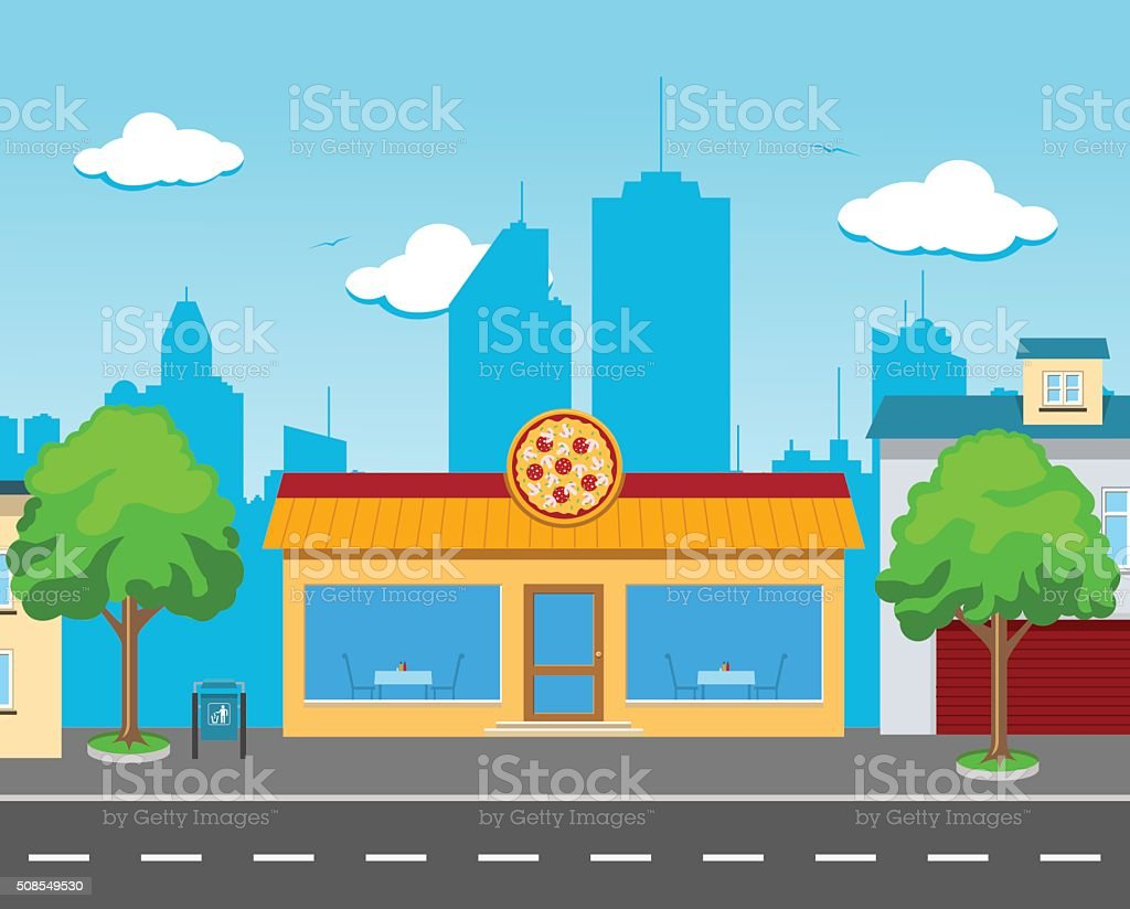 Pizza Cafe in the Street vector art illustration