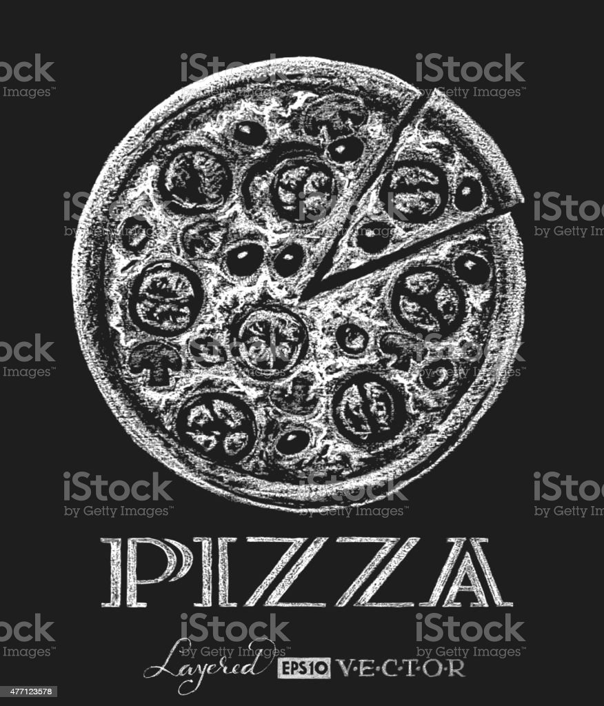 Pizza. Chalk drawing vector art illustration