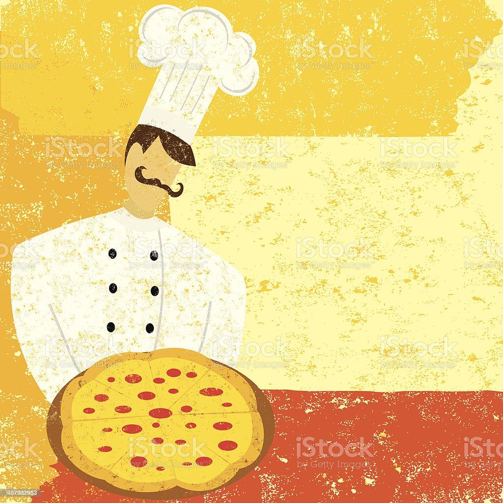Pizza chef vector art illustration