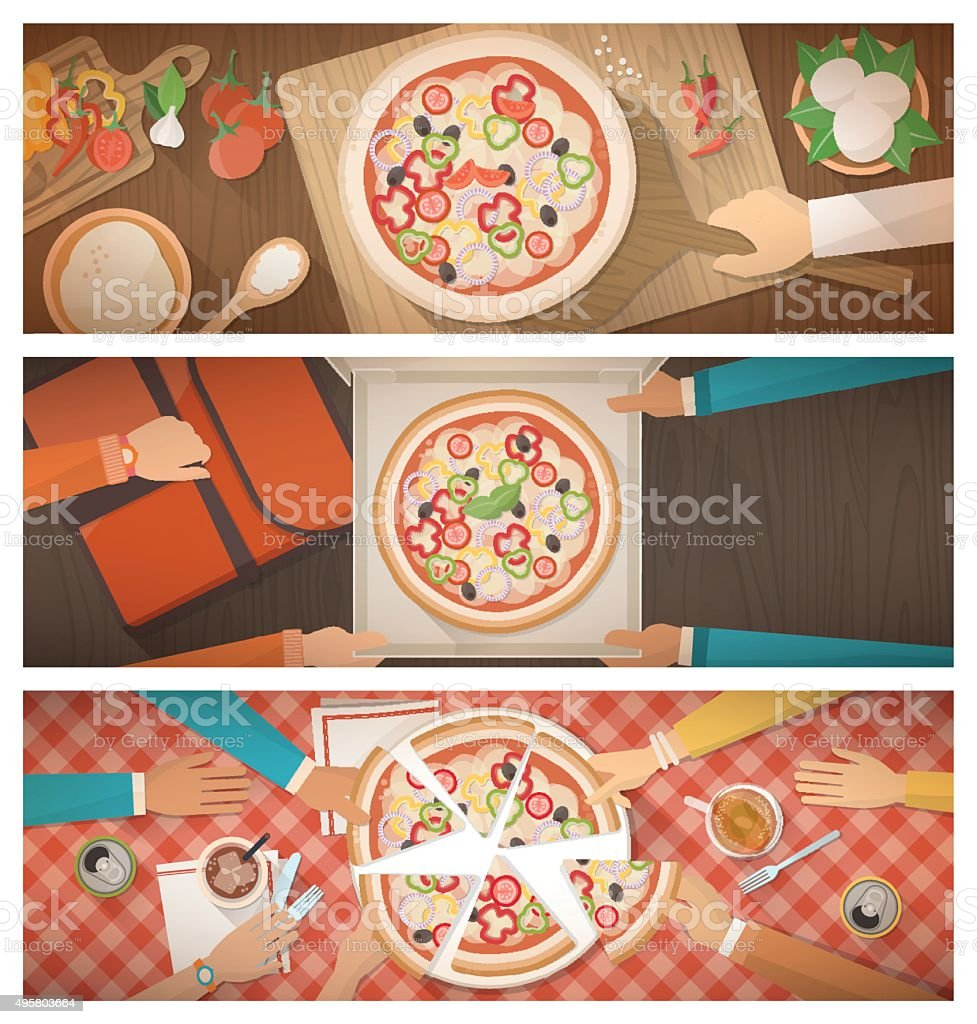 Pizza cooking, delivery and eating at home vector art illustration