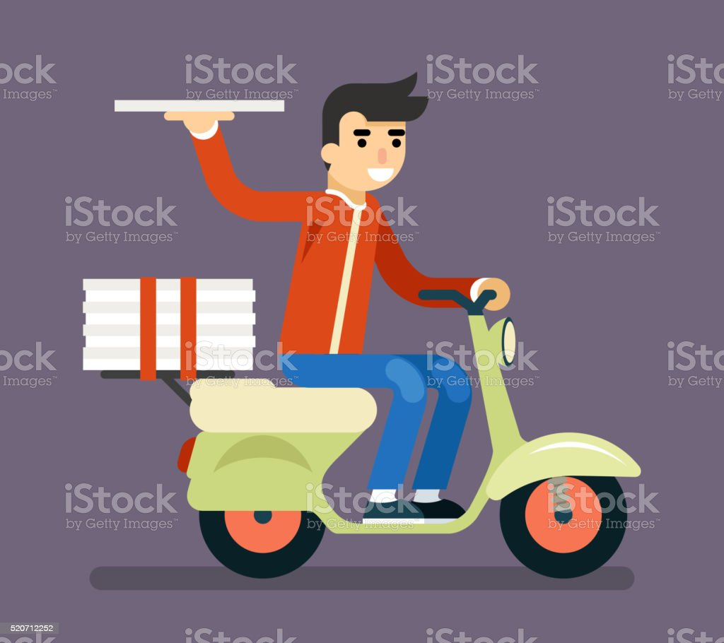 Pizza Delivery Courier Motorcycle Scooter Box Symbol Icon Concept Isolated vector art illustration