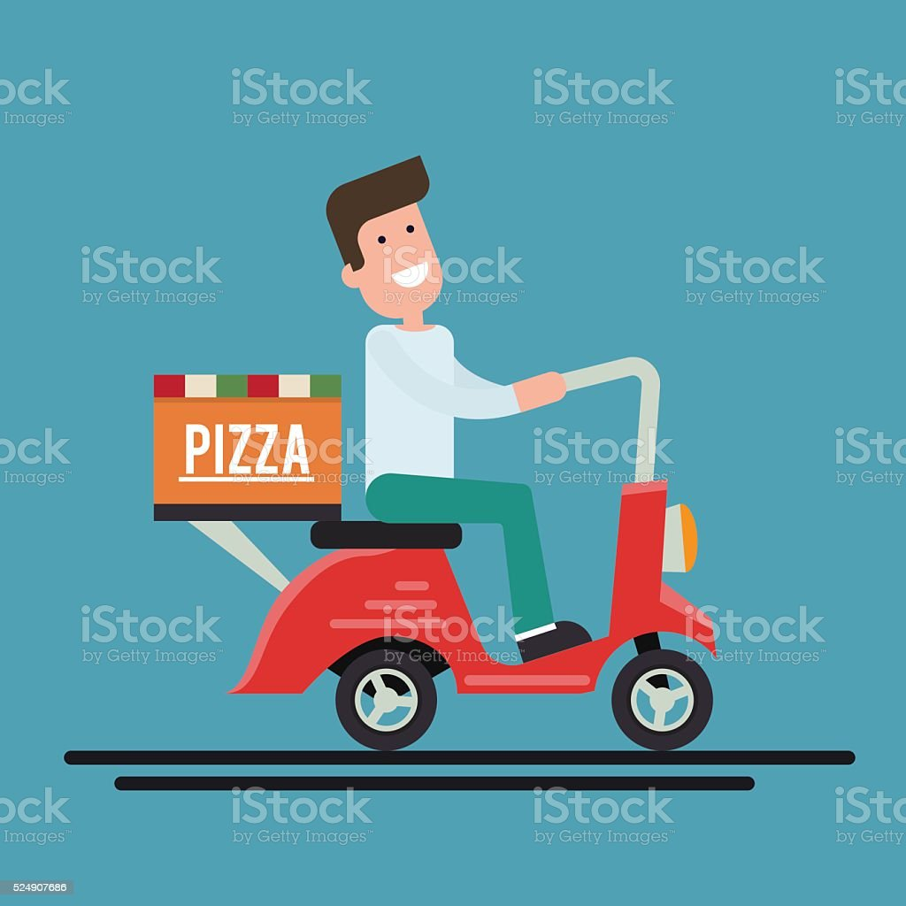 Pizza delivery courier on a scooter. Flat vector illustration. vector art illustration