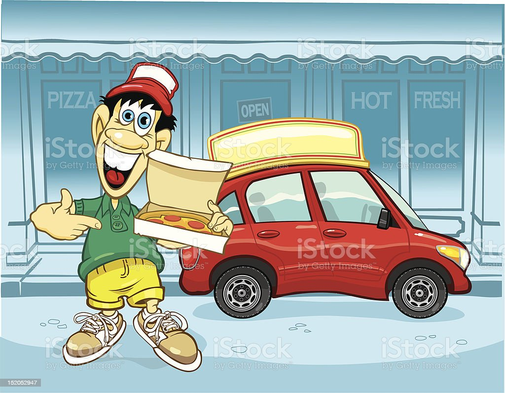 Pizza Delivery Guy royalty-free stock vector art
