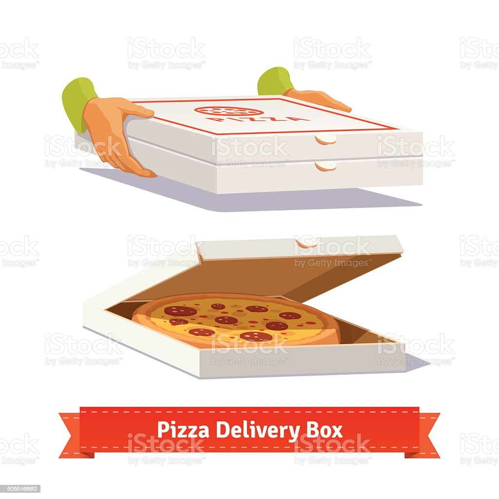 Pizza delivery. Handing a pizza boxes vector art illustration