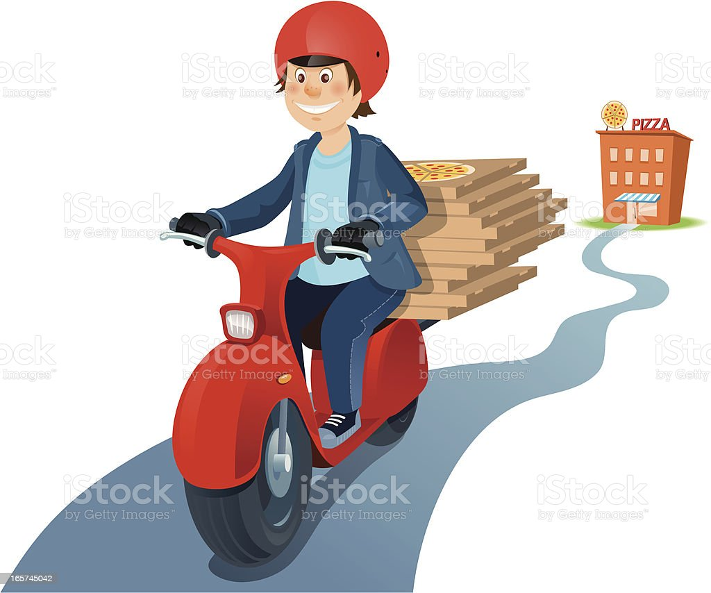 Pizza delivery on scooter vector art illustration