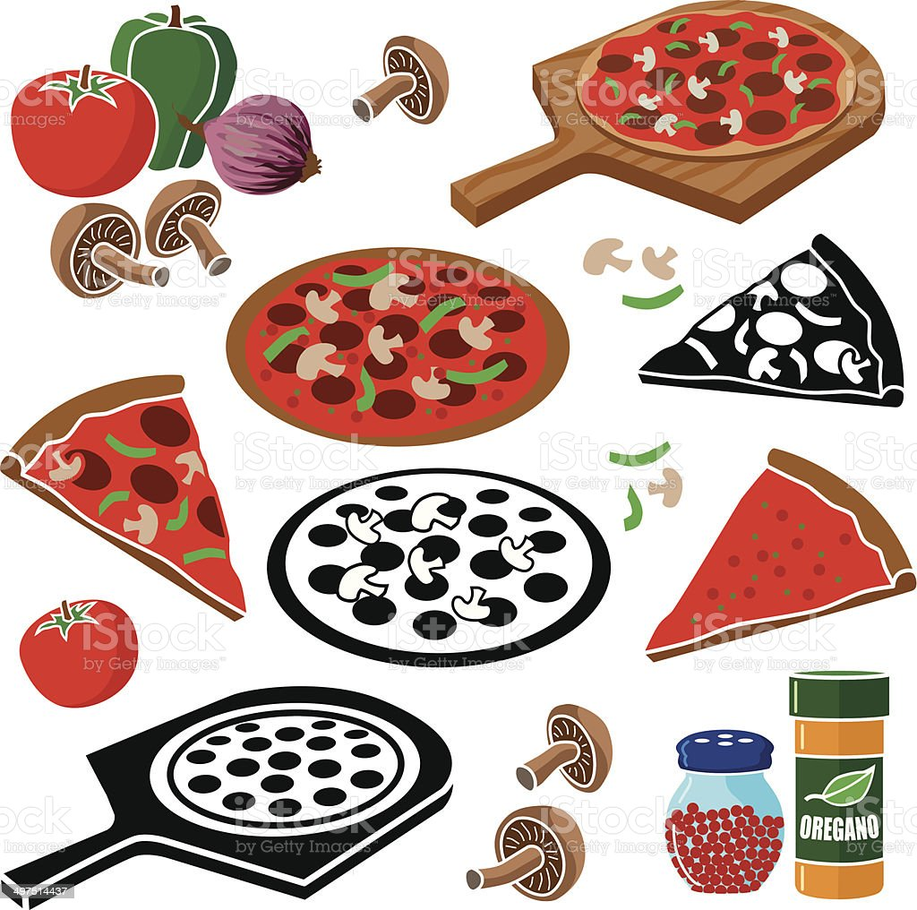 pizza design elements vector art illustration