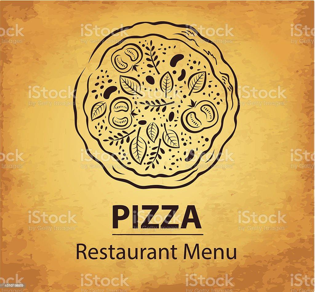 Pizza design menu vector art illustration