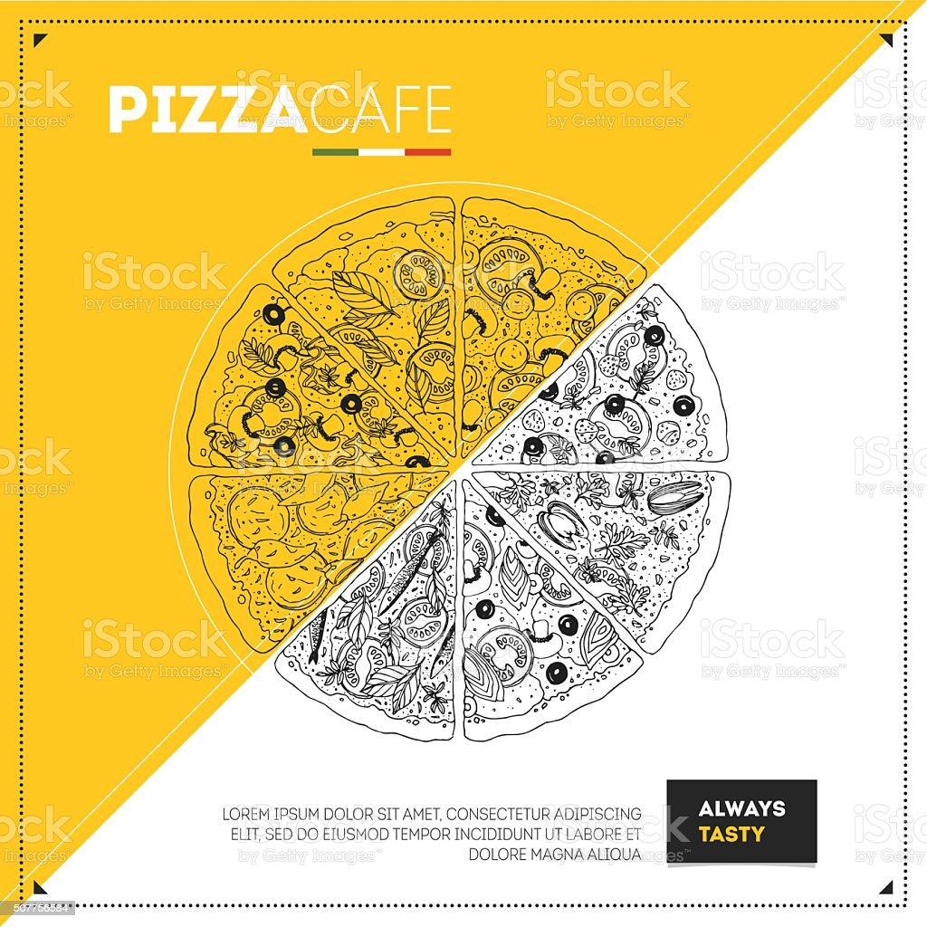 Pizza design template. Kind of Pizza. Vector illustration vector art illustration