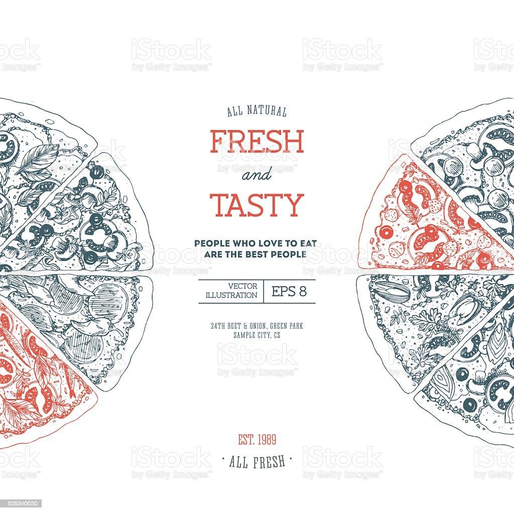 Pizza design template. Vector illustration vector art illustration
