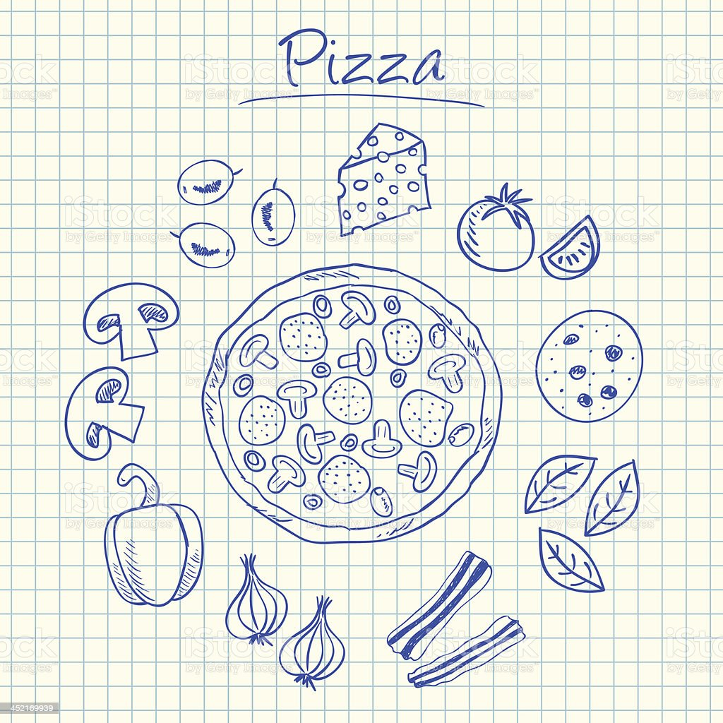 Pizza doodles - squared paper royalty-free stock vector art
