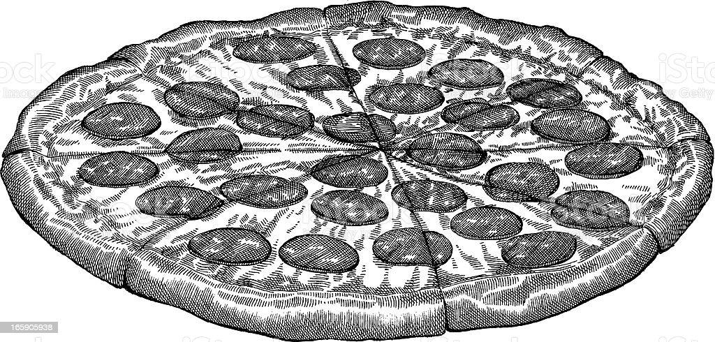 Pizza Drawing vector art illustration