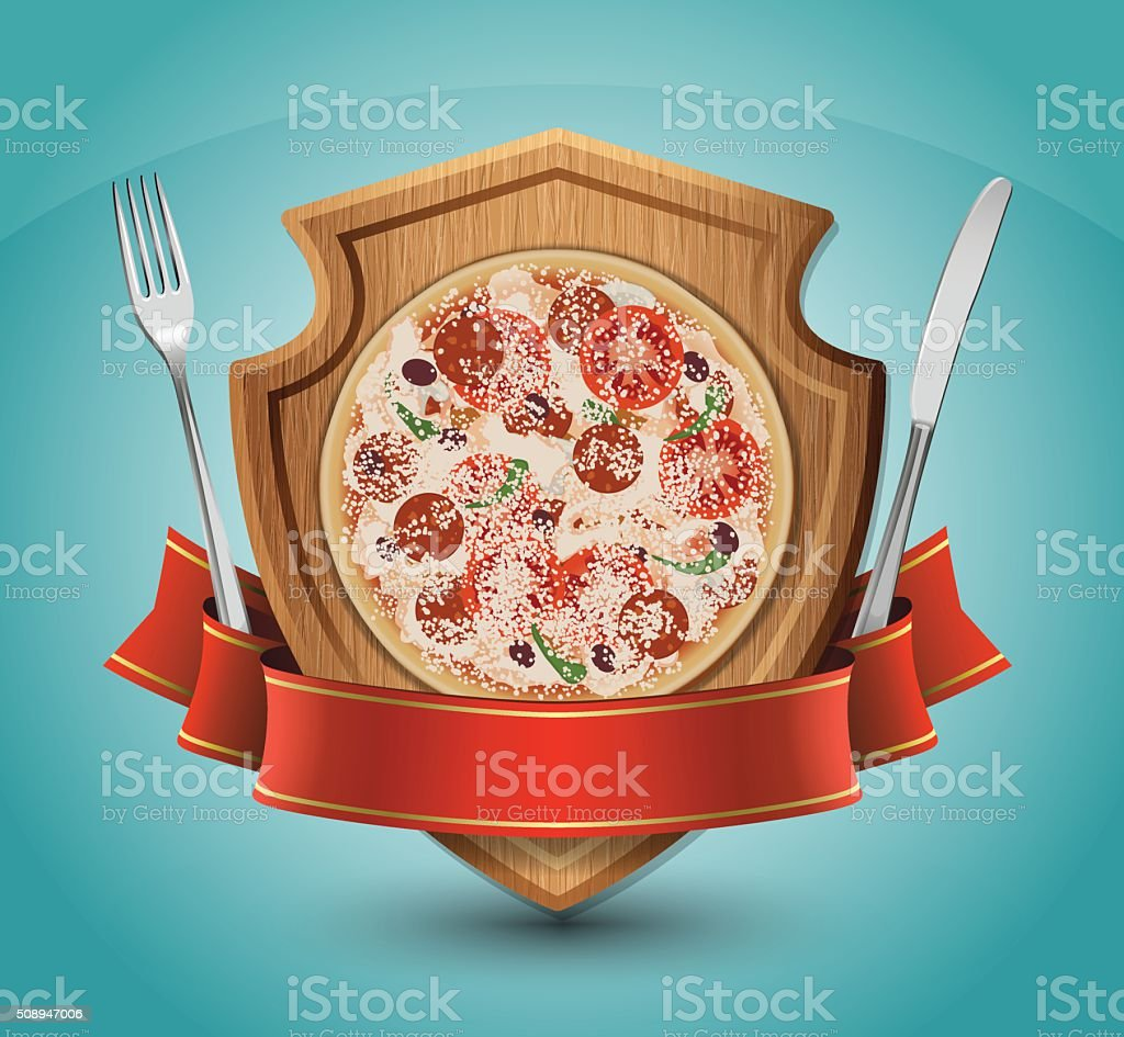 Pizza Emblem vector art illustration