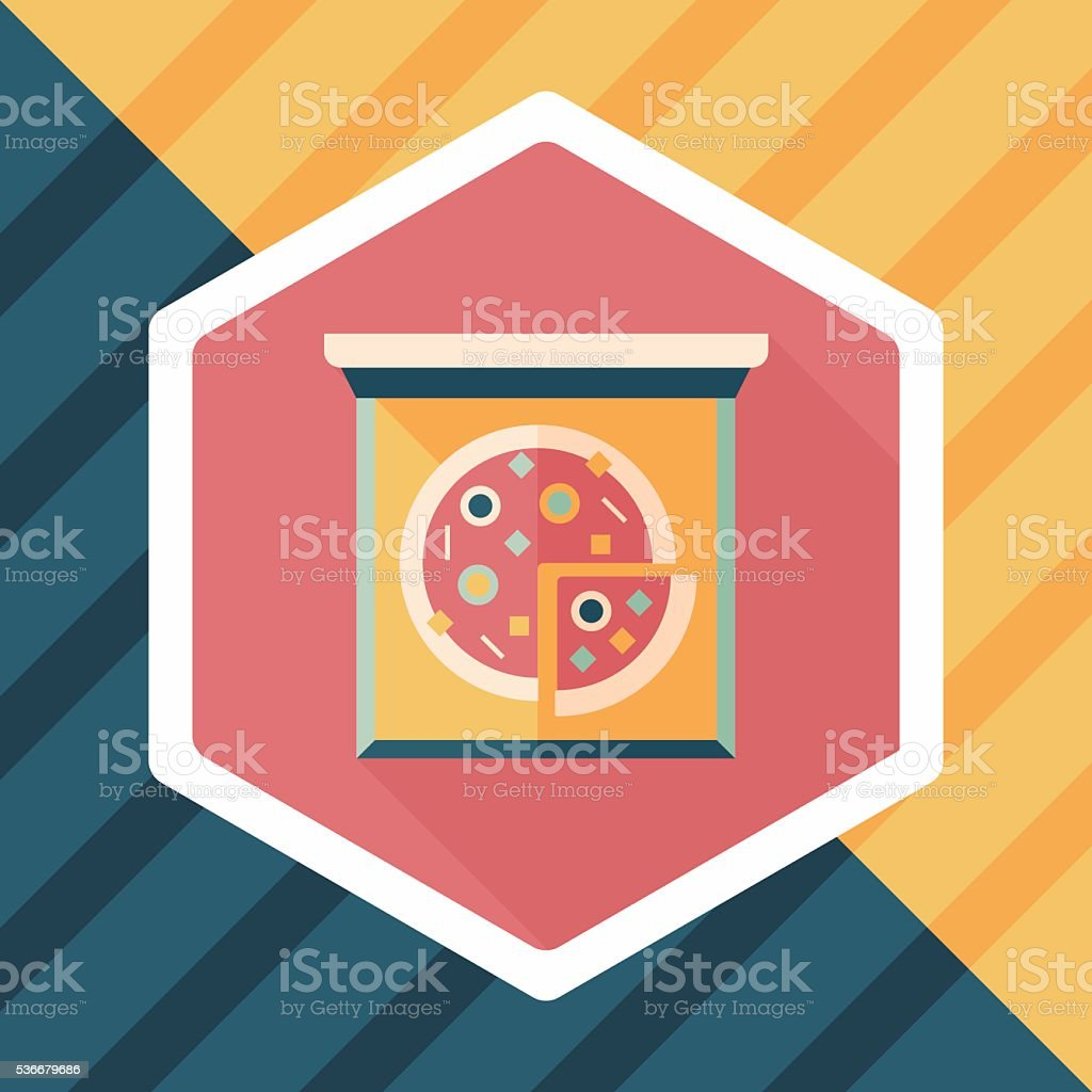 Pizza flat icon with long shadow,eps10 vector art illustration