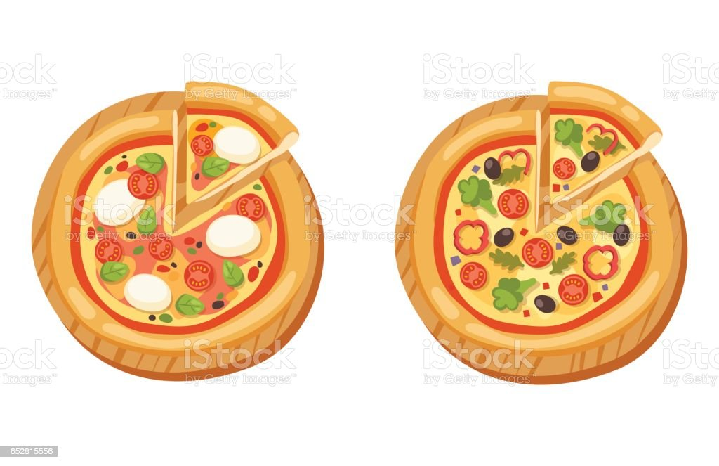Pizza flat icons isolated vector illustration piece slice pizzeria food menu snack on white background pepperoni ingredient delivery italian set vector art illustration
