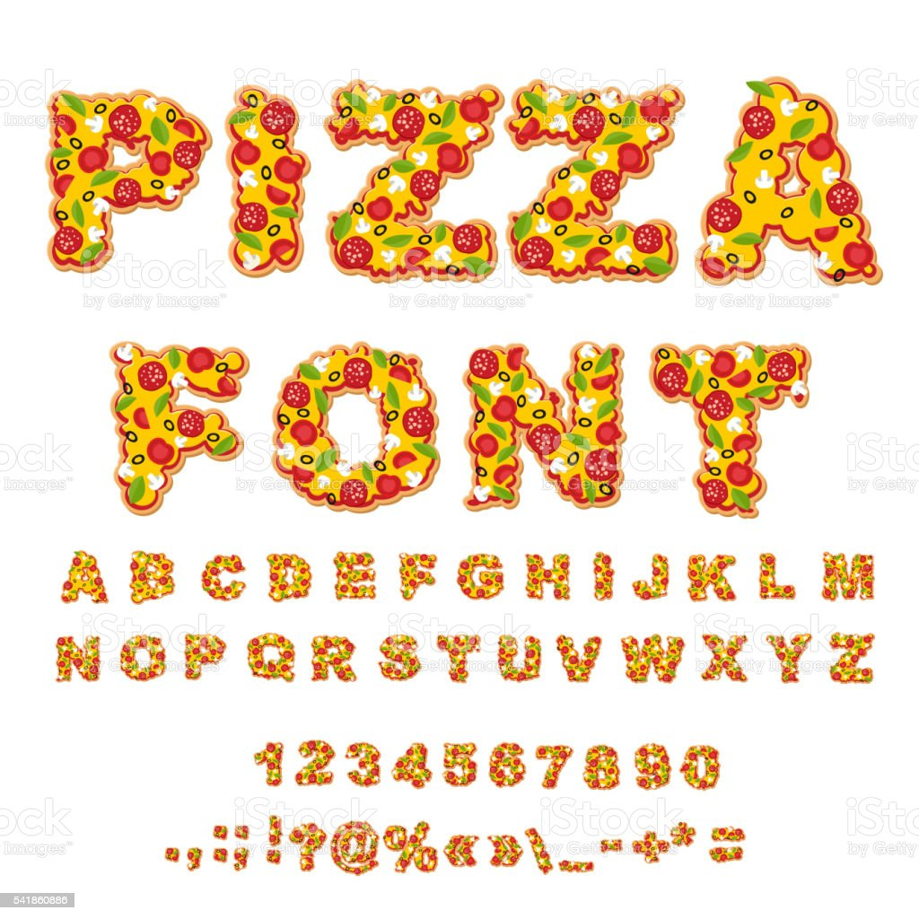 Pizza font. Letters dough. Food Alphabet. Fast food ABC. Italian vector art illustration