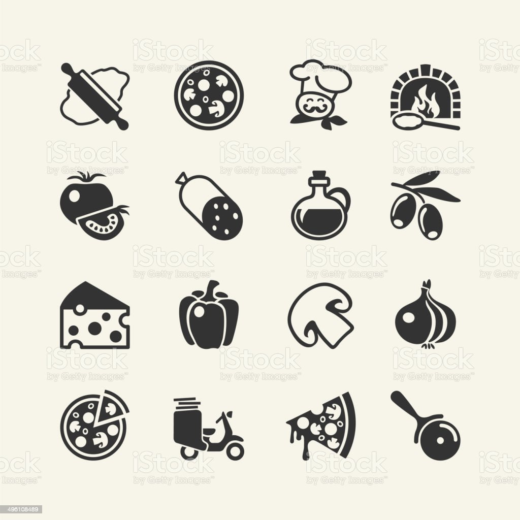 Pizza - food icon set vector art illustration