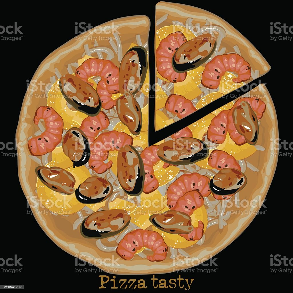 pizza, freehand drawing vector art illustration