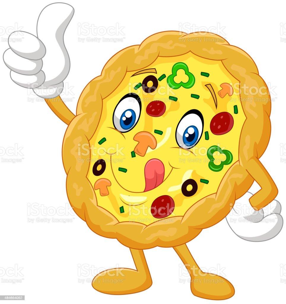Pizza give thumb up vector art illustration