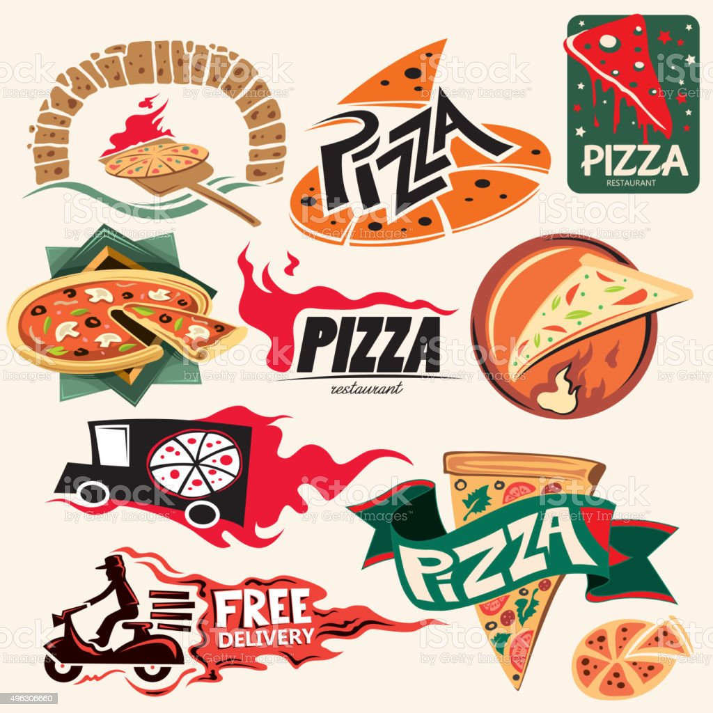 Pizza Icon Collection, Restaurant (Vector Art) vector art illustration