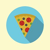 Pizza icon. Flat design long shadow. Vector illustration.