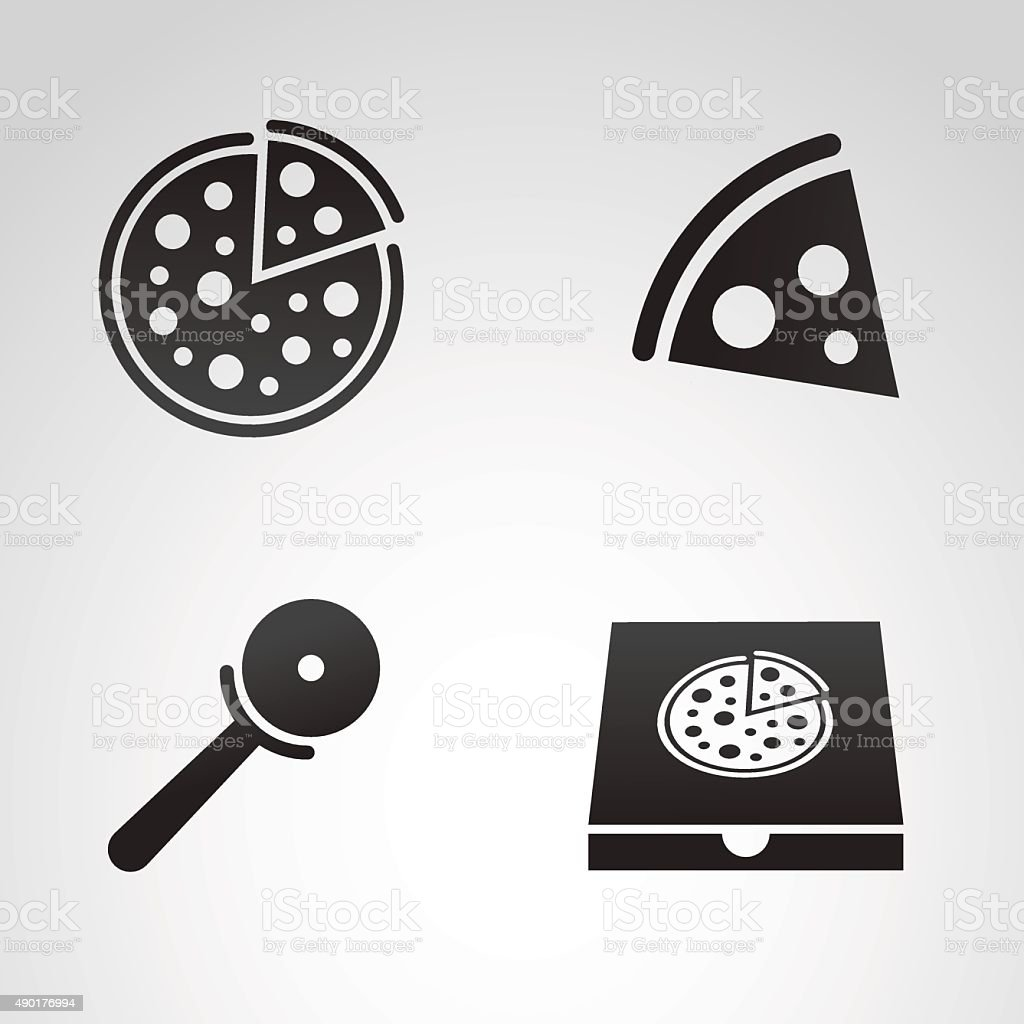 Pizza icon set. vector art illustration