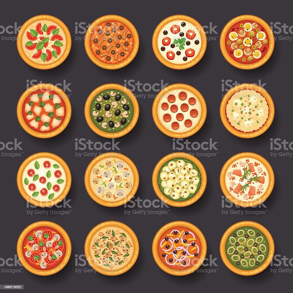 pizza icon set vector art illustration